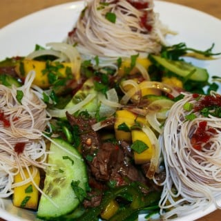Mango and Beef Salad With Rice Noodles