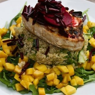 Grilled Swordfish, Rocket, Mango and Quinoa Salad