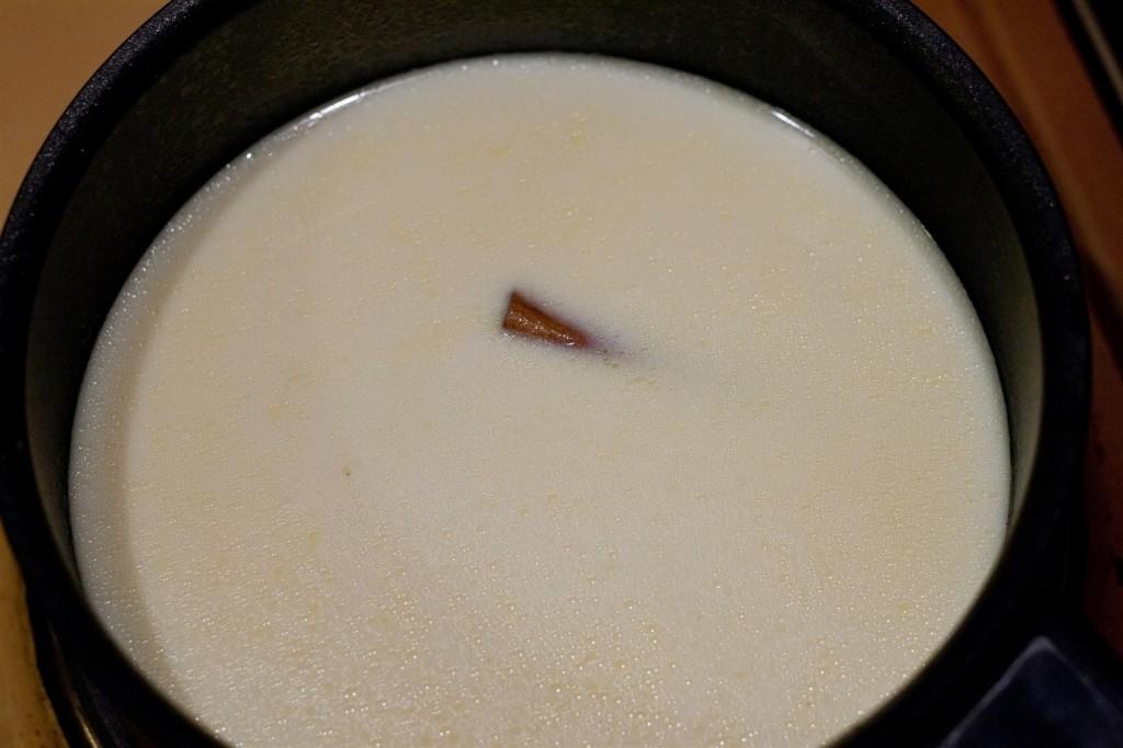 Adding in the milk