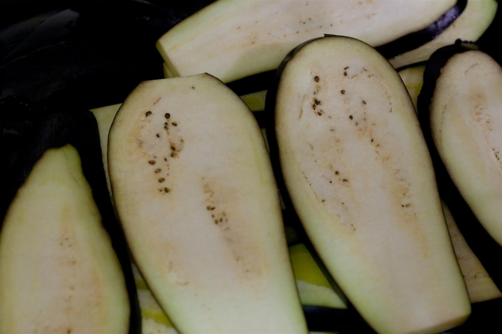 Grilling the aubergines