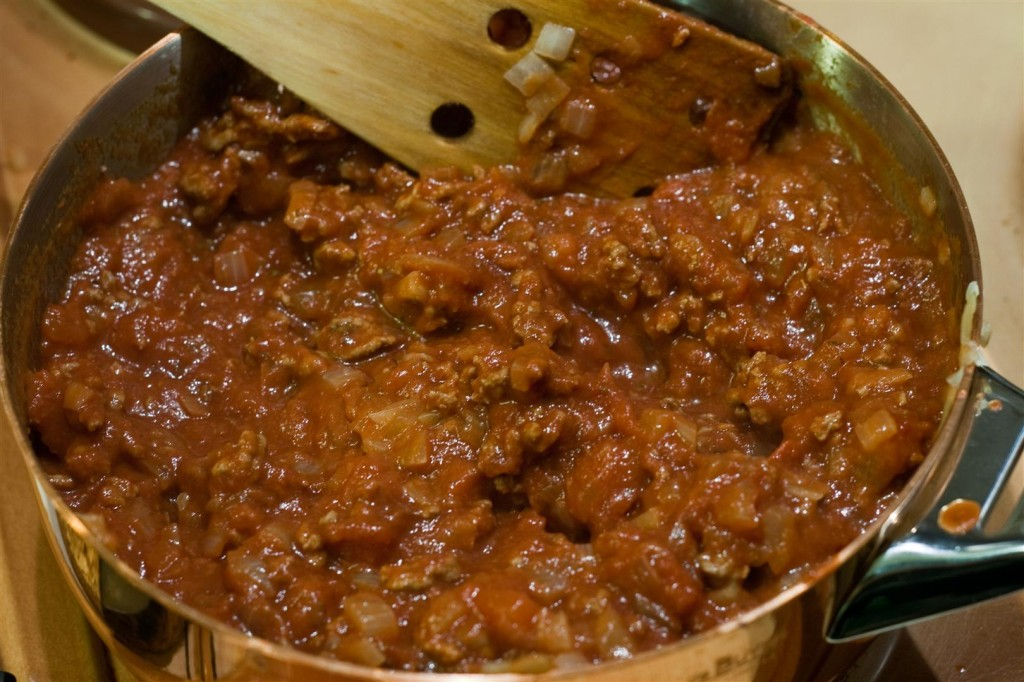Making the meat sauce