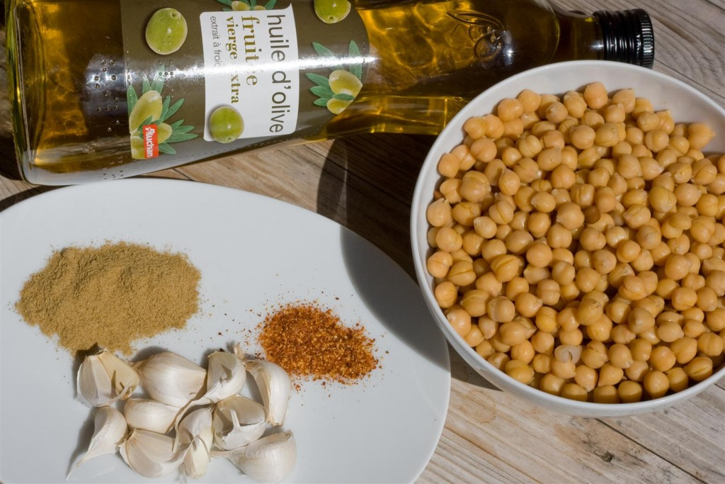 Garlic and Cumin Roasted Chick Peas ingredients