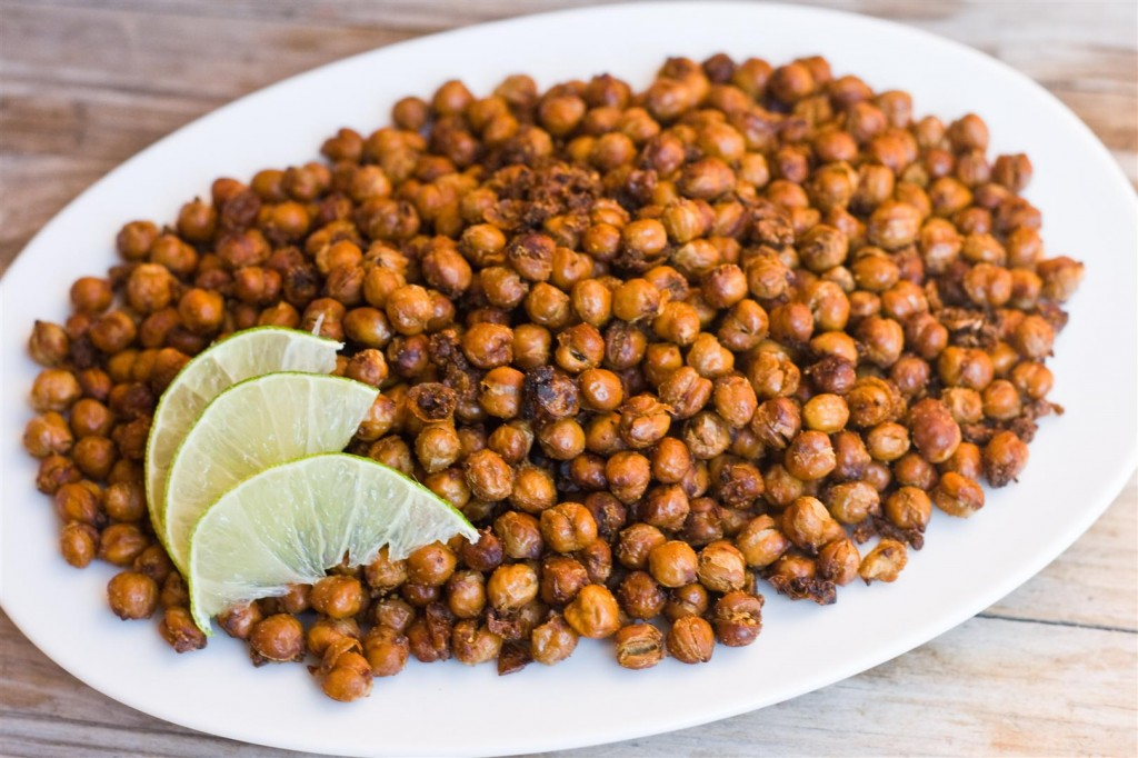 Garlic and cumin roasted chick peas