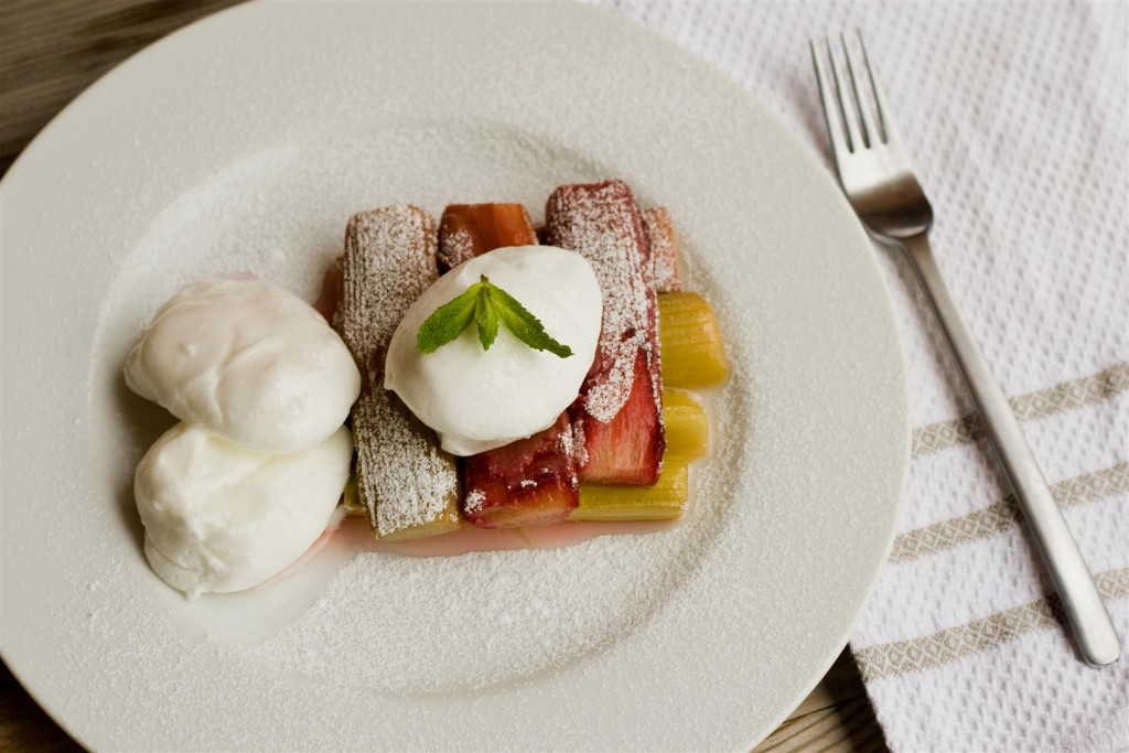 Poached Meringues and Baked Rhubarb