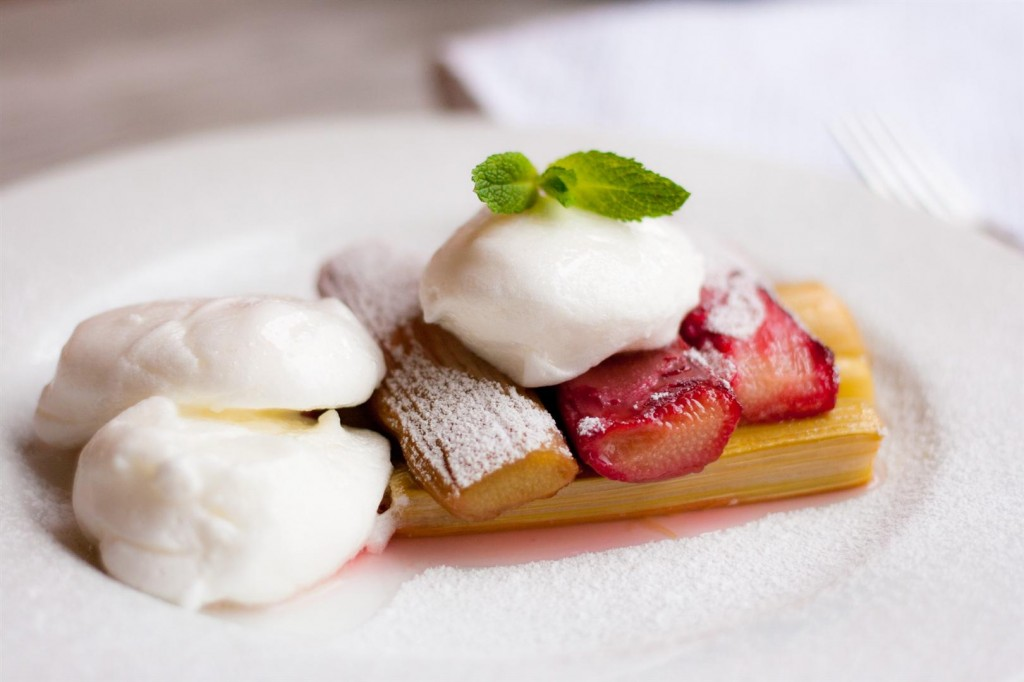 Poached Meringues on Baked Rhubarb