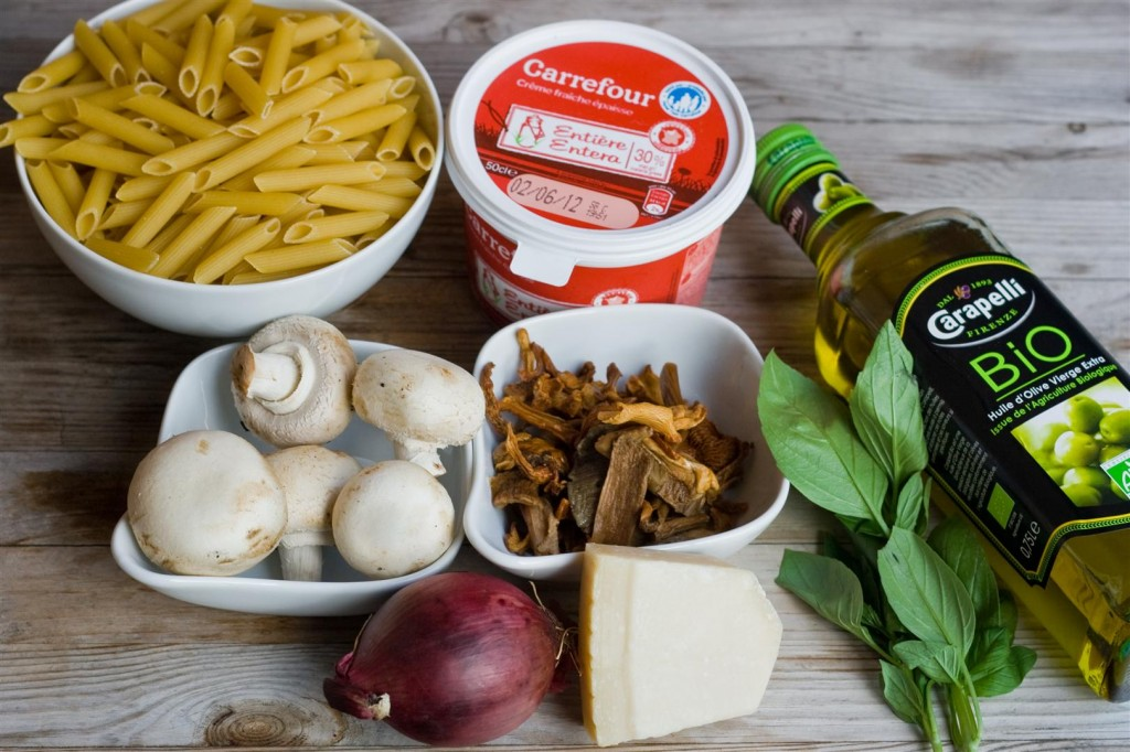 Penne with Chanterelle and Cep Sauce ingredients
