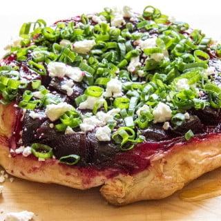 Beetroot and feta cheese tarte tatin