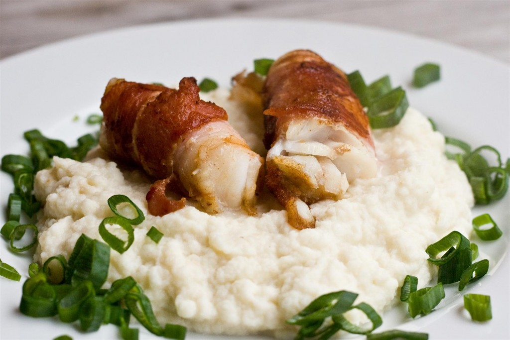 Bacon-wrapped Cod with Cauliflower Purée