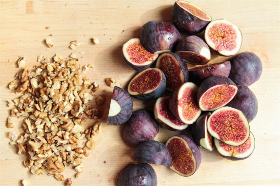 Chopping the figs and walnuts