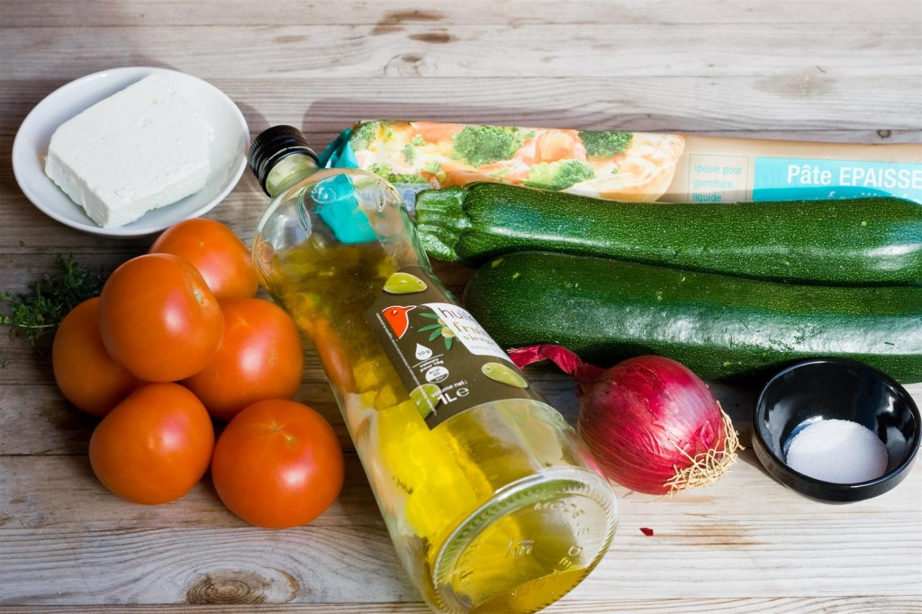 Courgette, Tomato and Feta Tart ingredients