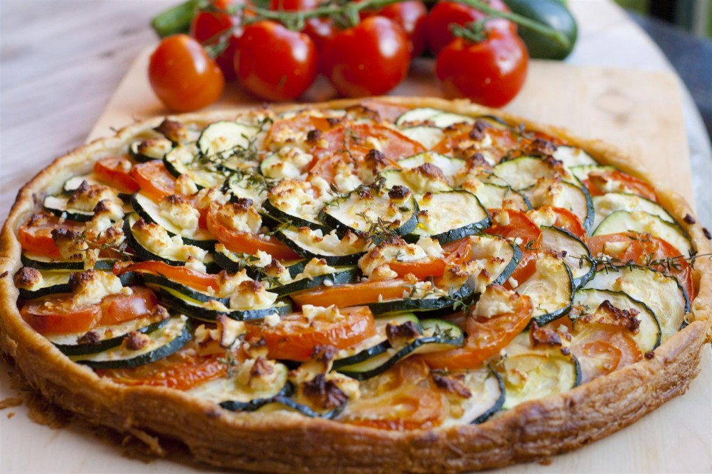 Courgette, Tomato and Feta Cheese Tart