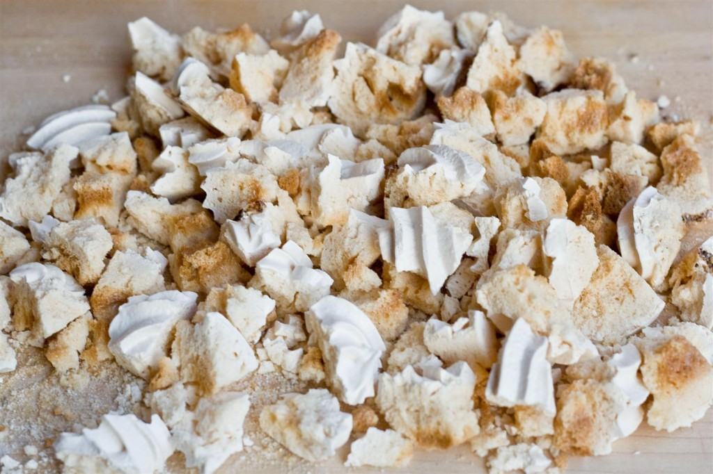Crumbling the meringue