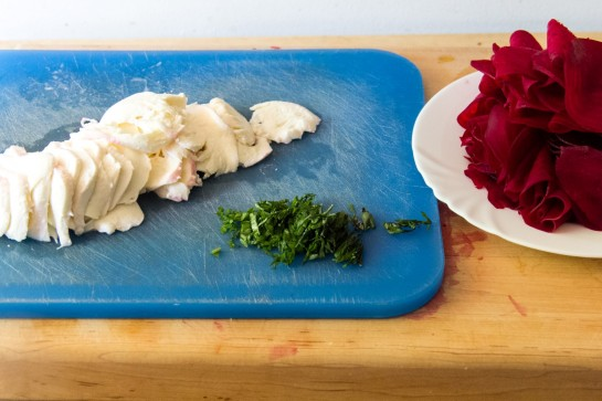 Slicing the ingredients