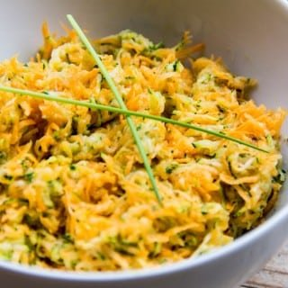 Raw Courgette and Carrot salad with Miso dressing