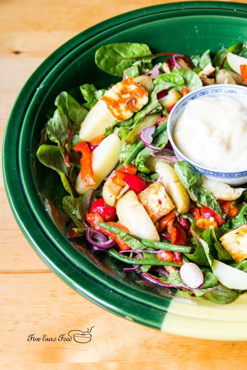 Spring Salad with Asparagus and Halloumi, with homemade Aioli